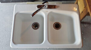 Kohler Cast Iron White Enamel Double Kitchen Sink