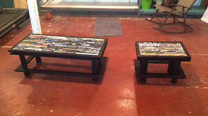 Recycled Hockey Stick Coffee and End Table Set