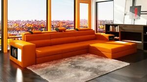 NEW, Modern Orange Sectional Sofa w/Chaise and Light!