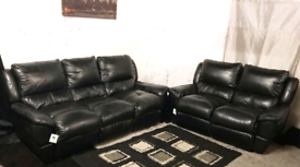 ; Real leather black recliners 3+2 seater sofas