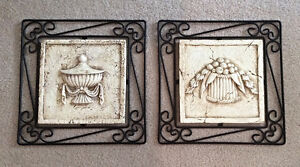 Two Wrought Iron & Plaster Wall Hangings