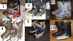 SNOWBOARD BOOTS, REDUCED PRICING , ALL ARE USED BUY 1 PAIR GET A