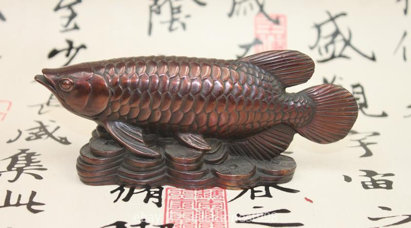 Chinese fengshui Red Bronze Lucky Wealth Money Fish Carp Auspicious statue