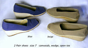 2 pair wedge canvass shoes, open toe, size 7