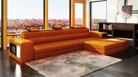 Modern Orange Leather Sectional w/Two lights and Storage! NEW!