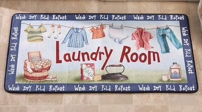 Laundry Room Washer Dryer Cushion Runner Rug Door Mat Colorful Clothes Line