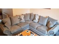 BRAND NEW NICOLE WITH CHECK CUSHIONS CORNER/3+2 SOFA AVAILABLE GREY IN STOCK ORDER NOW