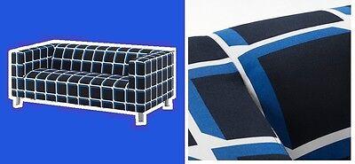 Ikea Klippan Alvared 2 Seat Loveseat Sofa Black White Blue Cube Windowpane Cover
