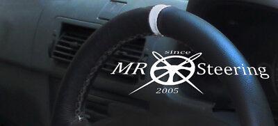 FITS 2008+ PEUGEOT PARTNER MK2 BLACK LEATHER STEERING WHEEL COVER + GREY STRAP