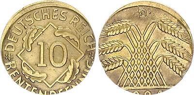 10 Pfennig J.309 1924D Fehlprägung: auf 5 Pf.-Schrötling geprägt, 2,58g vz
