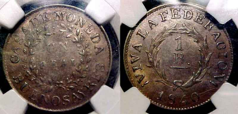 ARGENTINA - Buenos Aires 1840 Real NGC AU 55 BN