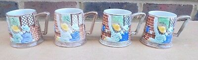 4 X Vintage H.J. WOOD BURSLEM Pottery Hand Painted Small Tankards - Pub Scene