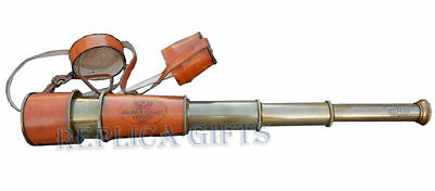 Antique Brass Leather Telescope Pirate Vintage Nautical Spyglass Scope Marine
