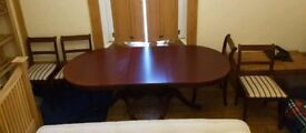 Regency Style Dining Table and 4 Chairs