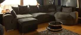 Large corner sofa with swivel section and swivel chair