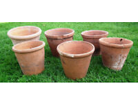 Six GENUINE vintage old terracotta clay pots, with character, as found. Medium size