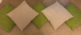 Selection of Cushions (3 green and 2 neutral)