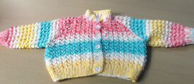 Multi Colored Baby's Cardigan, 3-6 Months.
