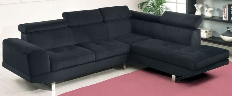 Contemporary Style Chrome Legs Black Bella Fabric Living Room Sectional Sofa Set