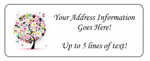 60 Personalized Summer Floral Colorful Tree Return Address Labels