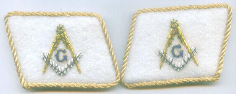 Freemasonry Masonic Ceremony Officer Uniform Collar Tabs Patch Master Lodge Rite
