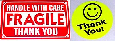 500 2 X 3 Fragile Handle With Care Label Sticker 20 Free Thank You Yellow Smiley