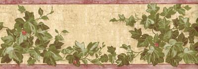 Ivy Leaves Vine Bush with Ladybug on Beige Rustic Background Wallpaper (Ivy Vine Wallpaper Border)