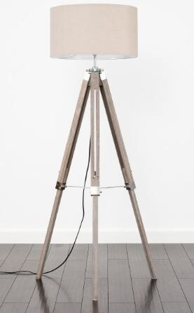 Floor Standing Tripod Lamp Light Wood With Chrome Large Shade