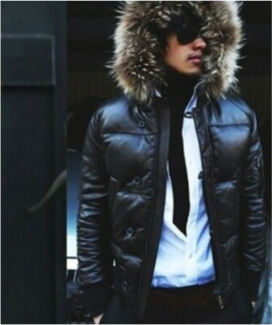 New mens fur leather jacket RRP$700  moncler style
