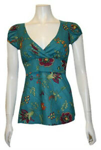 Teal Floral Babydoll Top - Jrs S,M - BRAND NEW