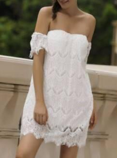 Off Shoulder Mini Lace Short Cocktail Dress - White (Sz 10 & 12)
