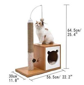 Cat Tree Pet Furniture Scratcher Natural Sisal Kitten Toys With Ball Carton Design
