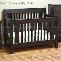 NEW! Modern convertible crib - SOHO MODEL - espresso or white