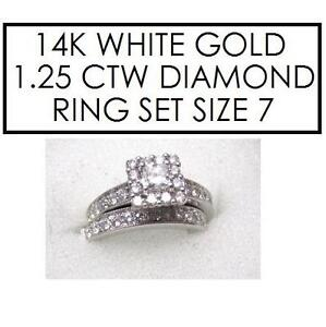 NEW* 2PC STMPED 14K DIAMOND RINGS 7 - 118886048 - STAMPED 14K RPG - JEWELLERY JEWELRY - WHITE GOLD - 1.25 CTTW