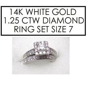 NEW* 2PC STMPED 14K DIAMOND RINGS 7 192333598 STAMPED 14K RPG JEWELLERY JEWELRY WHITE GOLD 1.25 CTTW