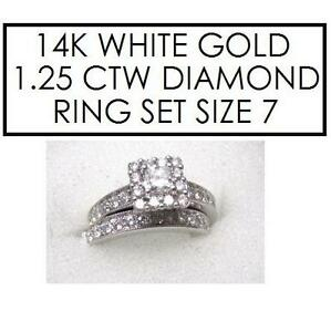 NEW* 2PC STMPED 14K DIAMOND RINGS 7 - 118886048 - STAMPED 14K RPG JEWELLERY JEWELRY WHITE GOLD 1.25 CTTW