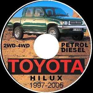 TOYOTA HILUX 1997-2004 2WD-4WD PETROL-DIESEL RZN-LN-KZN WORKSHOP MANUAL CDROM