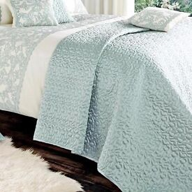 DUCK EGG QUILTED BEDSPREAD BY SAINSBURY'S NEW RRP £40