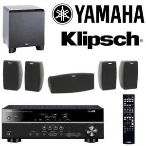 NEW* YAMAHA 5.1 HOME THEATRE SYSTEM YAMQUIKIT5 140122093 . 5.1 CHANNEL RECEIVER KLIPSCH QUINTET V SPEAKERS POWERED SU...
