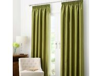 BEAUTIFUL DUNELM LINED SATIN CURTAINS IN GREEN *PENCIL PLEAT W64' L90' NEARLY NEW