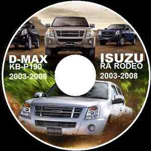 ISUZU HOLDEN RODEO RA TFR TFS D-MAX 2003-2008 FACTORY WORKSHOP MANUAL CD