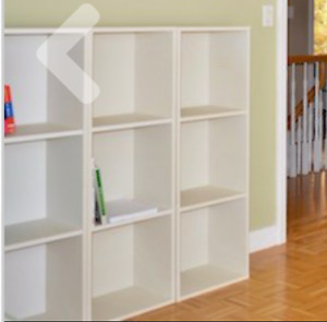 Five... 3 in a row WHITE squared Book shelves 1 DAY MOVING SALE!