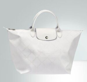 LONGCHAMP LM METALIC TOTE IN PEARL WHITE