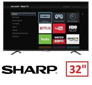 "NEW SHARP ROKU 32"" 720P SMART HDTV 32 INCH TELEVISION - 60 HZ LED SMART TV 100952674"