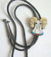 SILVER and MOTHER of PEARL RAM HEAD BOLO TIE