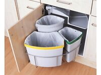 Space saving multi recycler compartment bin