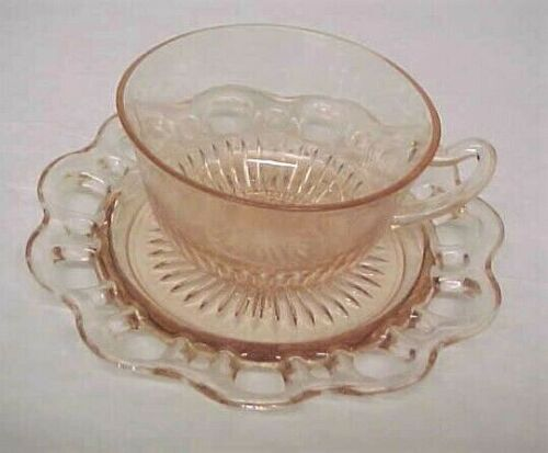 Anchor Hocking OLD COLONY Open Lace Pink Cup & Saucer - Depression Glass