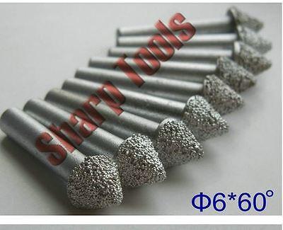 10pcset 6mm 60 Angle V Shape Pcd Diamond Cnc Router Bit Granite Stone Engraving