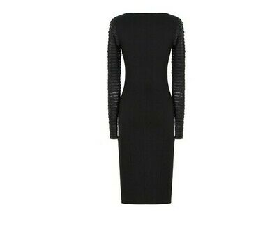 VERSACE - Midi Black Dress with Gold Medusa Cinch & Ribbed Sleeves - NWT - US 10
