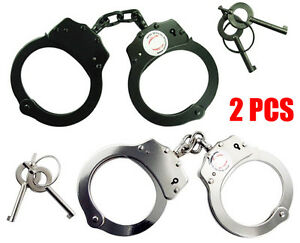 Set-of-2pc-Double-Lock-POLICE-OFFICIAL-Nickel-Plated-Handcuffs-BLACK-SILVER